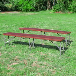 Lot de 2 Bancs Pliables Marron