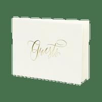Livre D'Or Guest Book Crème et Or 18,5 cm