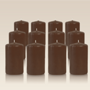 Pack de 12 bougies cylindres Cappuccino 6x10cm