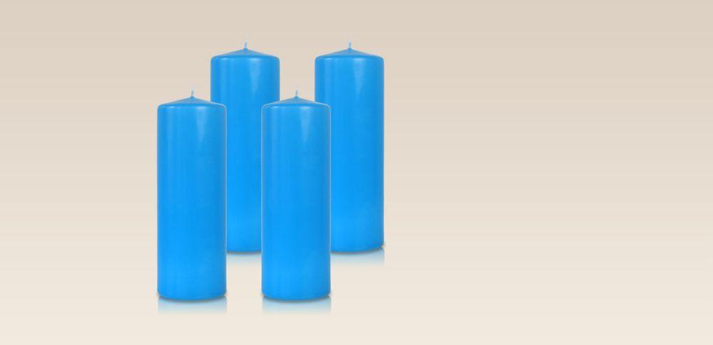 Pack de 4 bougies cylindres Bleu Turquoise 7x21cm