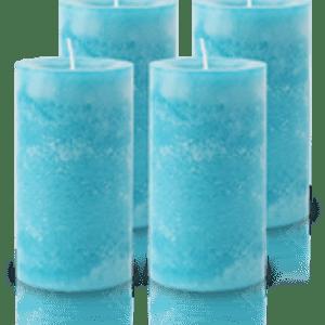Pack de 4 Bougies Marbrées Turquoise 13x7cm