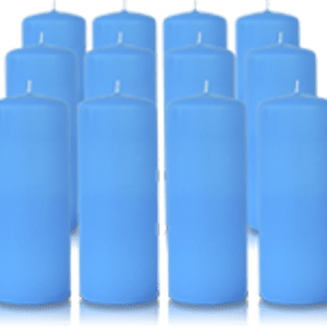 Pack de 12 bougies cylindres Bleu Turquoise 6x15cm