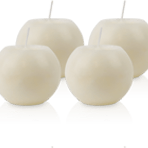 Pack de 4 Bougies Rondes Marbrées Ivoire 8cm