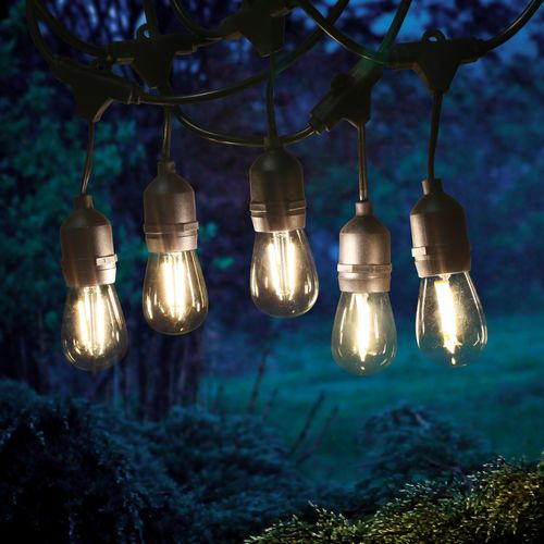 Guirlande guinguette 15 M pendante filament LED 15 bulbes
