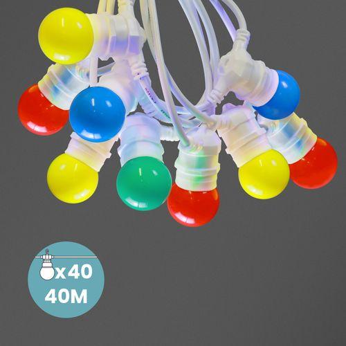 Kit Guirlande Guinguette 40m IP 65 Multicolore Cable Blanc