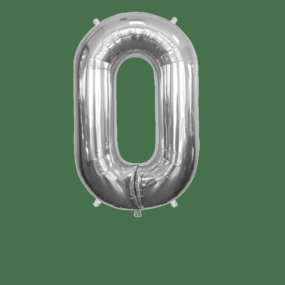 Ballon Chiffre 0 Argent 90 cm