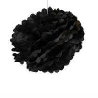 Decoration De Mariage & Fête Pompons Noir 40 Cm (Lot De 6 Pièces)