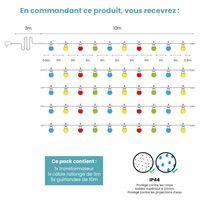 Kit Guirlande Guinguette 50m Câble Blanc Bulbes Multicolore