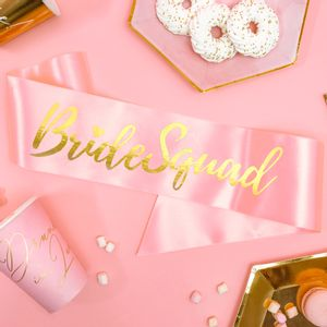 Echarpe Satin Bride Squad Rose et Or