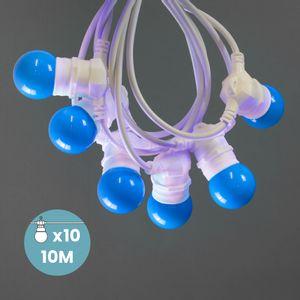 Guirlande Lumineuse Guinguette Bleu 10 m Cable Blanc