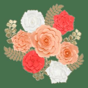 Kit Fleurs En Papier Salmon x7 + Rameaux