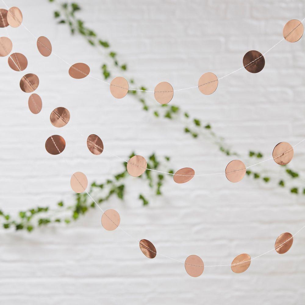 Guirlande Papier Ronds Rose Gold