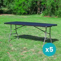 Lot de 5 Tables de Jardin Pliantes 180x74 cm Noir