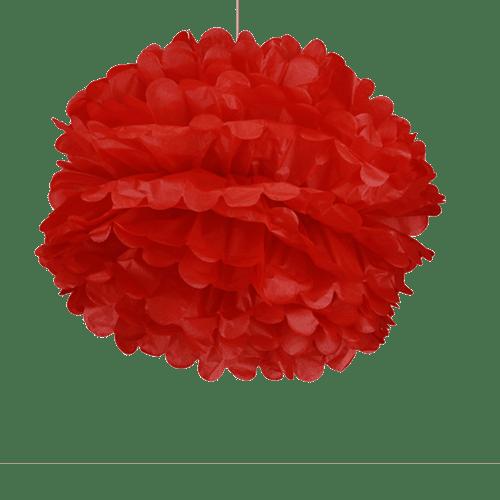 Deco Mariage, Fête, Anniversaire Pompons Rouge 50Cm (Lot De 4 Pièces)