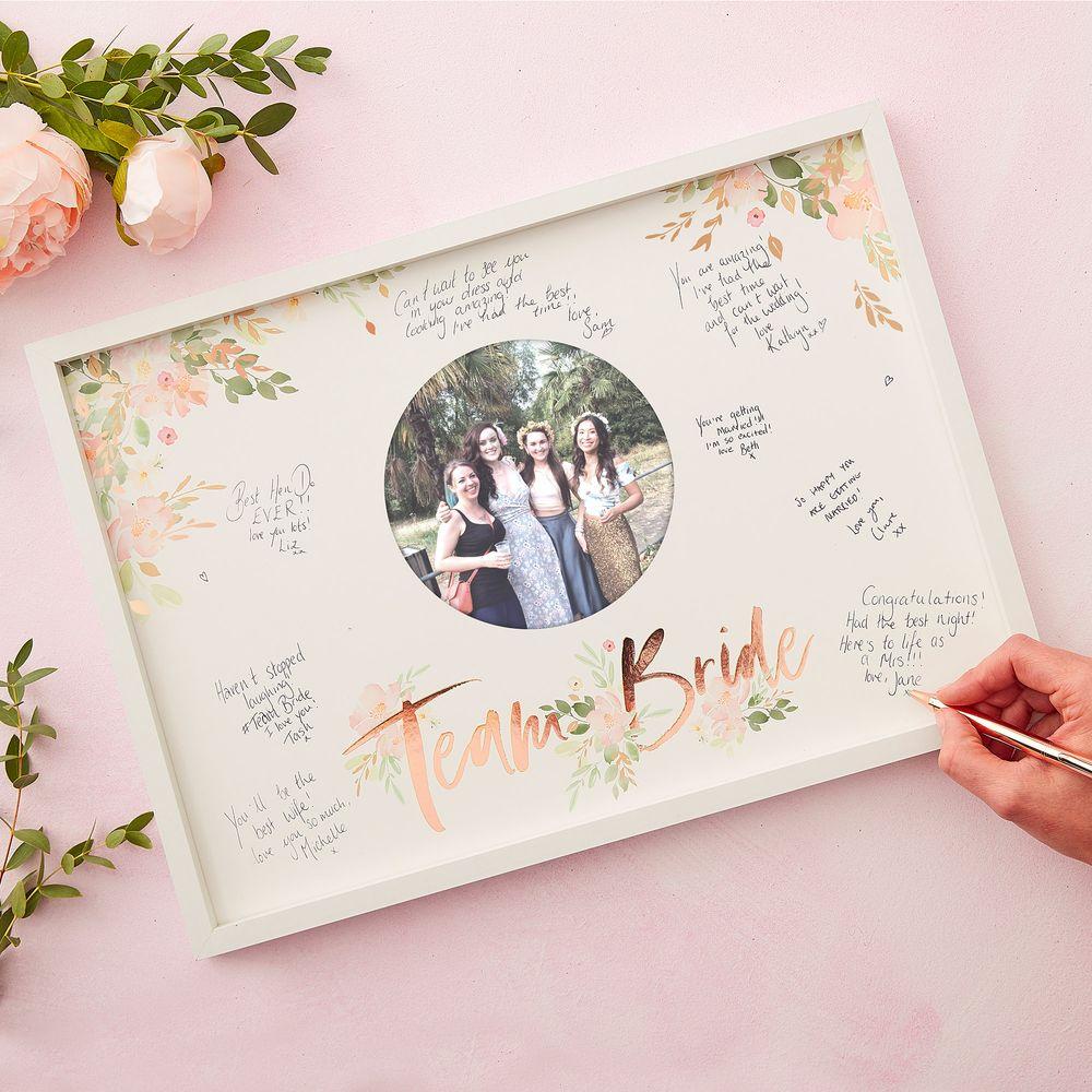 Cadre Livre D'Or Team Bride Rose gold et Blanc 44 cm