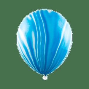 Ballon Marbré Latex Bleu ciel et Blanc x6