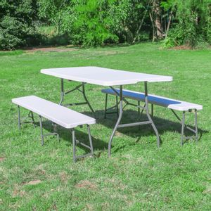 Lot 1 Table Pliante et 2 bancs 180 cm Blanc