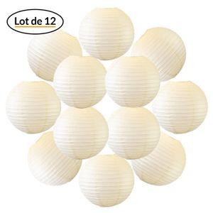 12x Lanterne Papier 30 cm Ivoire - Suspension Boule Papier 30 cm (12'') type Lanterne Japonaise pour Decoration Mariage - 12 pièces - Le must de la Gamme de Lampions Papier - Notice en Français.