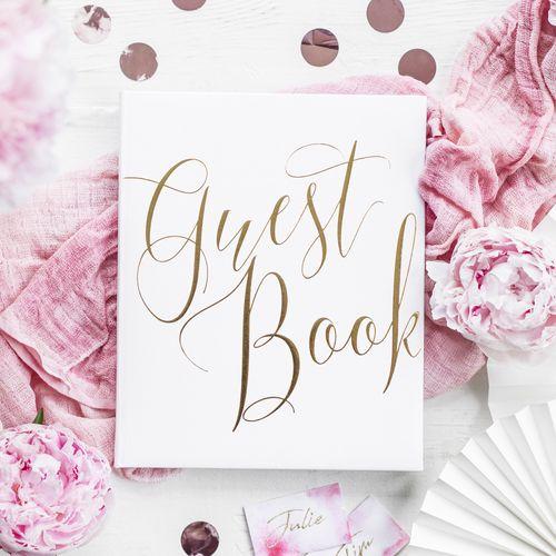 Livre D'Or Guest Book Blanc 24,5 cm