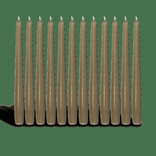 Pack de 12 chandelles Taupe 23x25cm