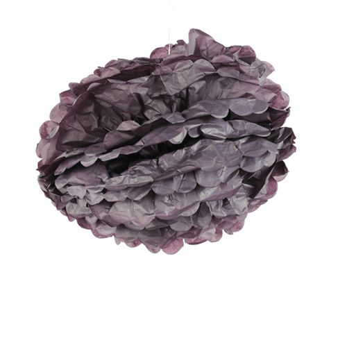 Pompons Aubergine 40cm x2