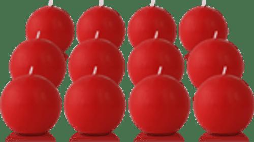 Pack de 12 bougies ronde Rouge 7cm