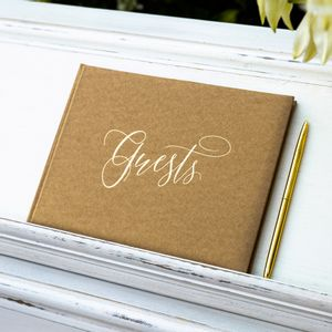 Livre D'Or Guest Book Naturel et Or 18,5 cm