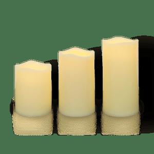 Lot de 3 Bougies LED Ivoire avec Télécommande