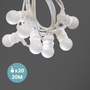 Kit Guirlande Guinguette 20m IP 65 Cable Blanc Blanche