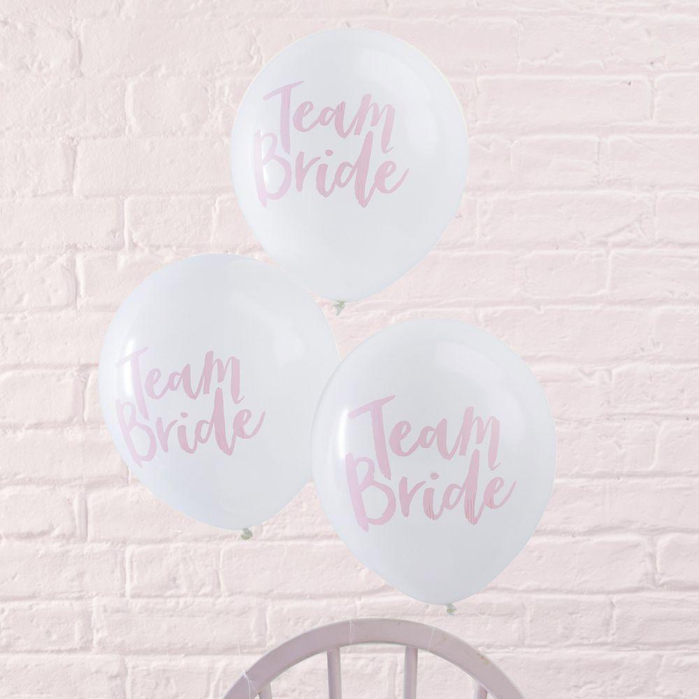 Ballon Latex Team Bride Blanc et Rose x10