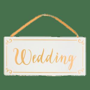 Panneau Bois Wedding Blanc ruban or
