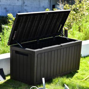 Coffre de Jardin 285L avec Piston Marron Effet Bois