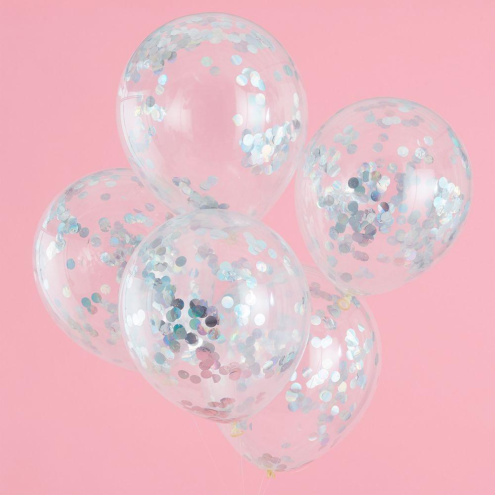 Ballon Irisdecent avec Confettis Argent x5