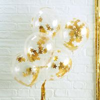 Ballons Confettis Étoiles Or x5