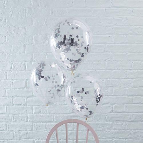 Ballon Confettis Argent x5