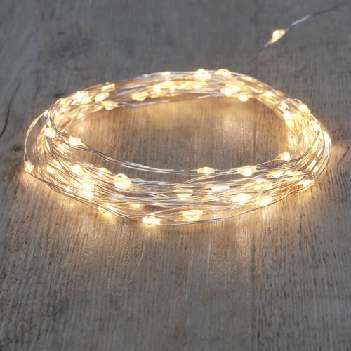 Guirlande Micro LED 10M Argent 100 LEDs Blanc Chaud