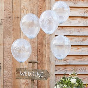Ballons Confettis Blanc x5