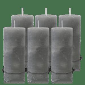 Pack de 6 Bougies Rustiques Gris 14x7cm