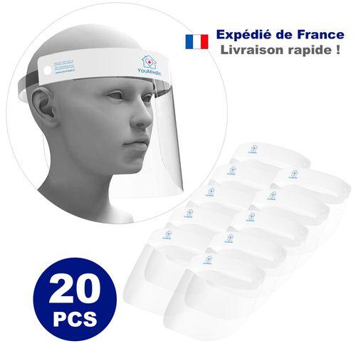 Lot de 20 Visieres de Protection Transparente 32x22
