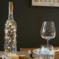 Bouchon Lumineux Fil Cuivre blanc chaud 2 m