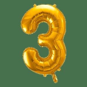 Ballon Chiffre 3 Or 90 cm