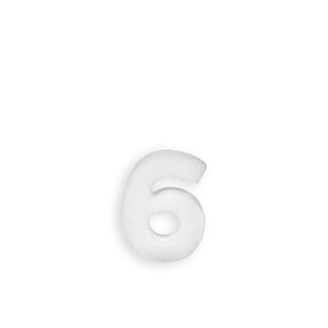 Chiffre 6 en Polystyrène 10cm