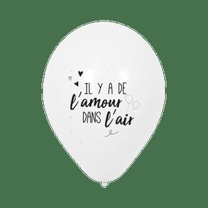 """Ballon Mariage """"Il y a de l'amour dans l'air"""" Blanc"""