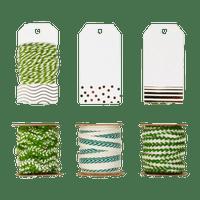 Set Etiquettes et Ficelle Vert et Blanc