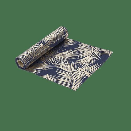 Chemin De Table Lin Palmier Bleu et Or 5 m