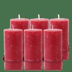 Pack de 6 Bougies Rustiques Rouge 11x7cm