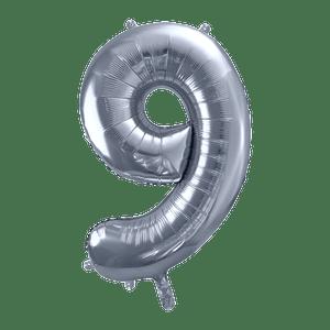 Ballon Chiffre 9 Argent 90 cm
