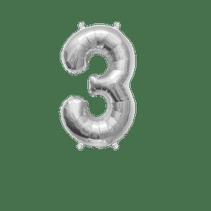 Ballon Chiffre 3 Argent 35 cm
