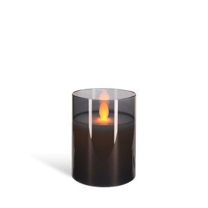 Bougie Led Verre flamme vacillante Noir 7,5 cm