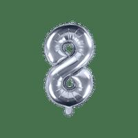 Ballon Chiffre 8 Latex Argent